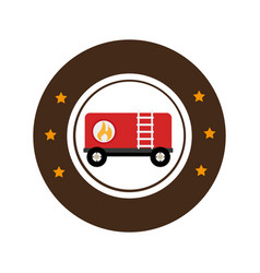 Color circular emblem with fuel trailer vector