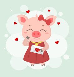 congratulations on valentine s day a piglet in vector image