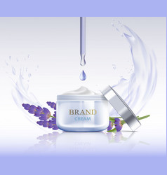 Cream with lavender flowers vector
