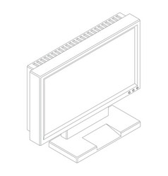 detailed outline a computer monitor in isometry vector image