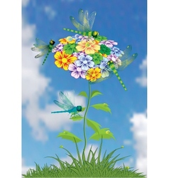 Dragonfly on a bright summer flower vector