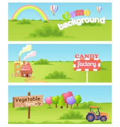 Fairy cartoon flat concept landscapes set vector