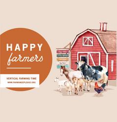 Farmer frame design with warehouse animal vector