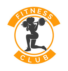fitness club logo with woman and barbell vector image