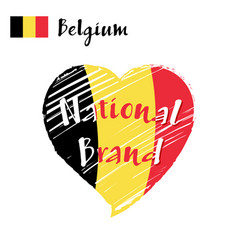 flag heart of belgium national brand vector image