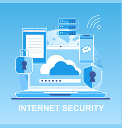 Flat banner internet security personal vector