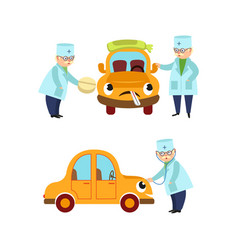 flat doctor and humanized car scene set vector image