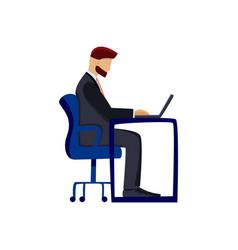 flat financial advisor sit at table vector image