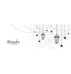 Flat ramadan kareem white banner design vector