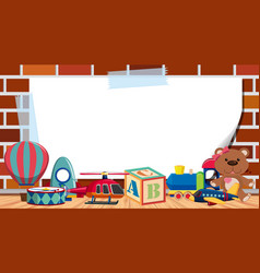 Frame template with many cute toys background vector
