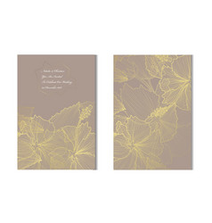 golden floral cards set vector image