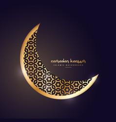 Golden moon in dark background vector