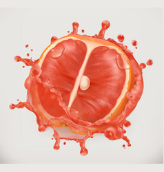 grapefruit juice fresh fruit 3d icon vector image