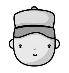 Grayscale man head plumber job to service repair vector