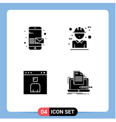 Group modern solid glyphs set for email avatar vector