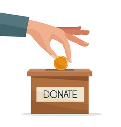 Hand depositing coins in a carton box with banner vector
