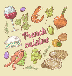 Hand drawn french cuisine doodle with wine vector