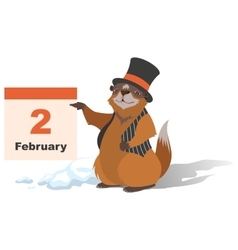 Happy Groundhog Day Marmot holding February 2 vector image