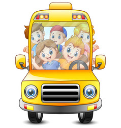 happy kids riding with a bus vector image