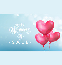 Happy womens day sale banner with ballon heart vector