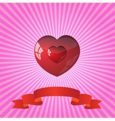 heart on striped pink background vector image