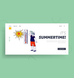 Heat stroke landing page template man pouring vector