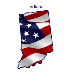 Indiana full american flag waving in wind vector