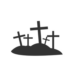 Isolated graveyard crosses vector