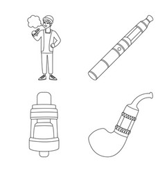 Isolated object nicotine and filter logo set vector