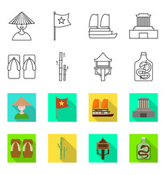 Isolated object vietnam and traditional icon vector