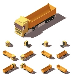 isometric truck with tipper semi-trailer vector image