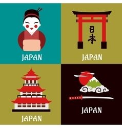 Japanese culture and religious flat icons vector image
