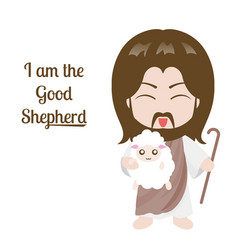 jesus hold staff and sheep vector image
