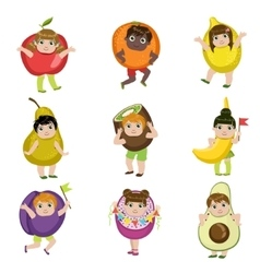 Kids Dressed As Fruits vector