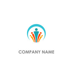 Leader group abstract people logo vector