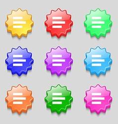 Left-aligned icon sign Symbols on nine wavy vector
