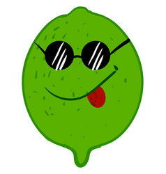 lime with cool glasses on white background vector image