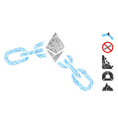 Linear ethereum broken chain icon collage vector