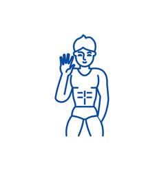 Male striptease line icon concept striptease vector
