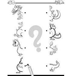 match dragons halves coloring page vector image