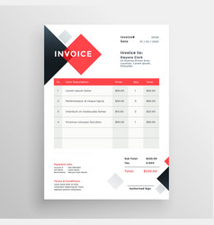 Modern invoice template design in red theme vector