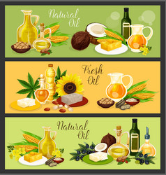 Natural oil with ingredient banner for food design vector