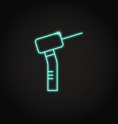 neon dental drill icon in line style vector image