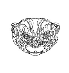 Oriental small-clawed otter doodle art vector