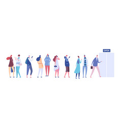 people in queue men and women in casual clothes vector image