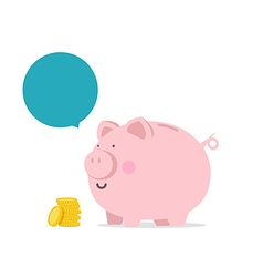Piggy bank flat icon with blank bubble text vector image