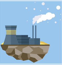 Plant isolated on piece land building vector