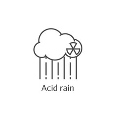 Radioactive cloud and acid rain thin line icon vector