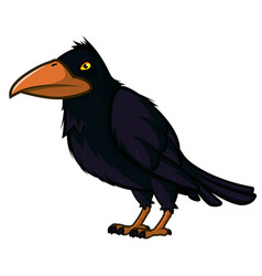 raven with yellow eyes and a large beak vector image