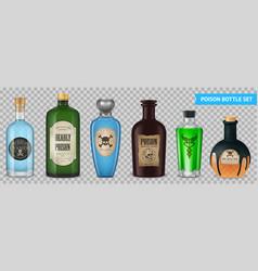 realistic poison bottles set vector image